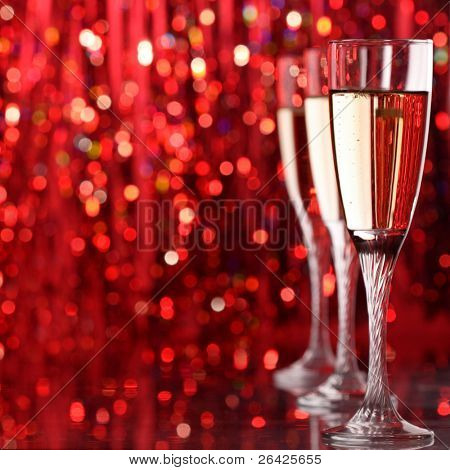 champagne glass in holiday light