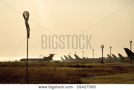Windsock on airport landing strip