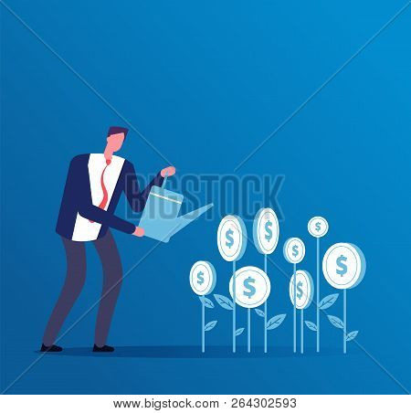 poster of Investment Business Concept. Happy Investor Grows Money Investments. Business Opportunity Finance Ve