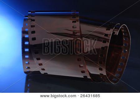 35 mm film on blue background