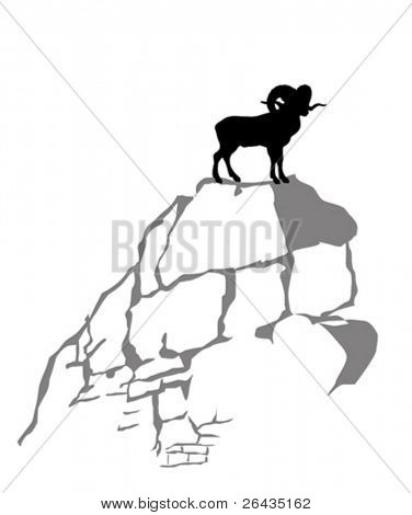 mountain ram silhouette on white background, vector illustration