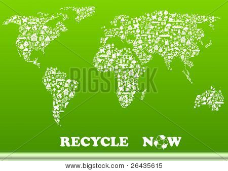 Vector illustration of map shape, made from different ecological items.
