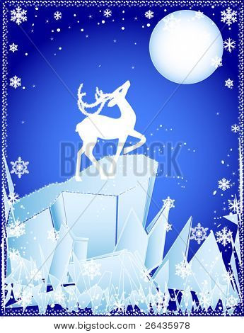 vector of winter deer on the cliff