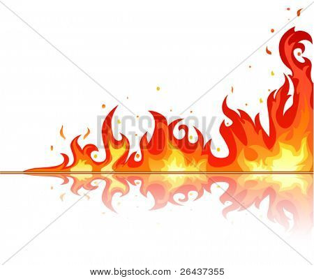 Flame reflection on white background