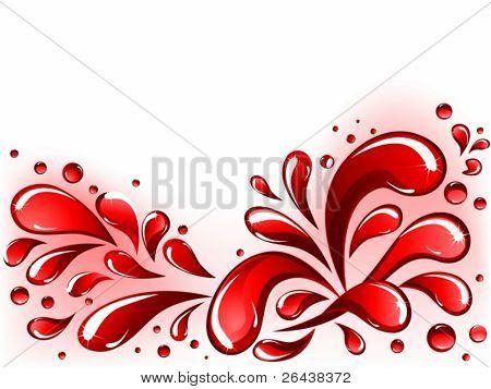 Vektor von rot Spritzen und Tropfen