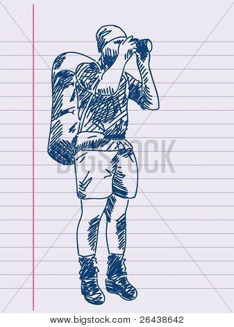 Hand drawn tourist. Visit my portfolio for huge hand drawn collection