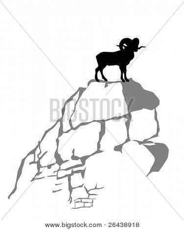 mountain ram silhouette on white background