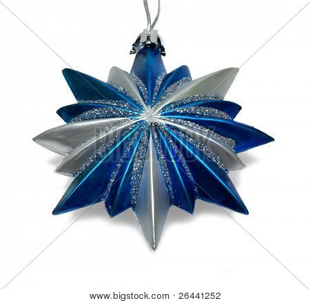 Blue Christmas star isolated over a white background