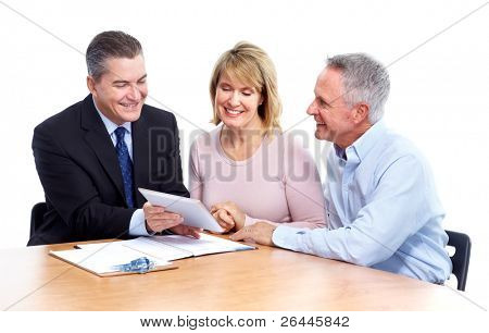 Senior couple with financial adviser. Isolated on white background.