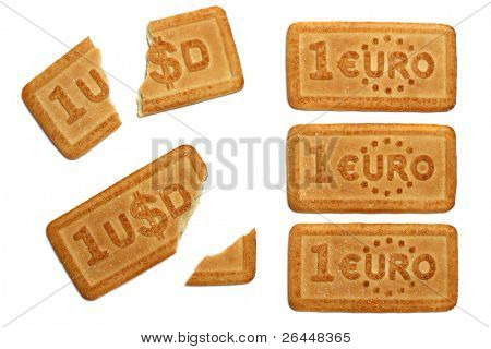 Dollar and euro rate metaphor, white background