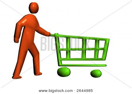 Pushing A Retail Trolley