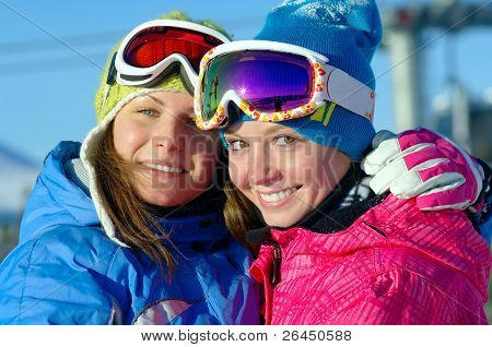 Happy Girls Snowboarders