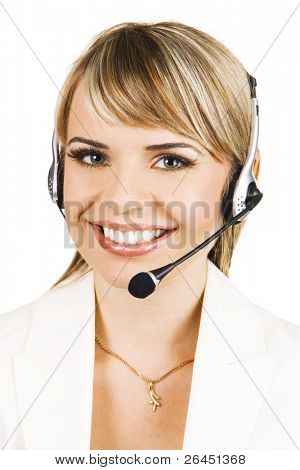 Customer service professional with a friendly smile