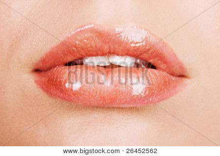 Beautiful female lips closeup