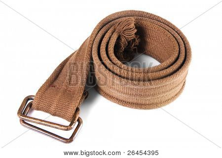 Military khaki belt isolated on white background
