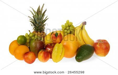 Assortment of exotic fruits, isolated on white
