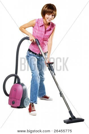 Young cheerful woman with vacuum cleaner, isolated on white