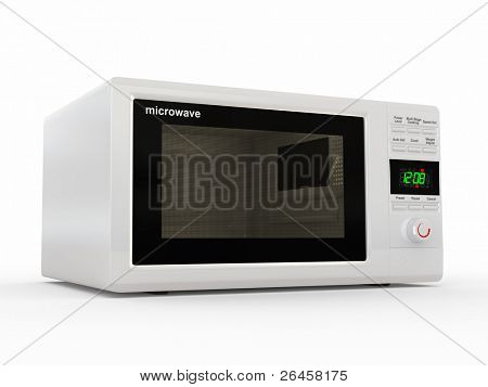 Closed white microwave on white background. 3d