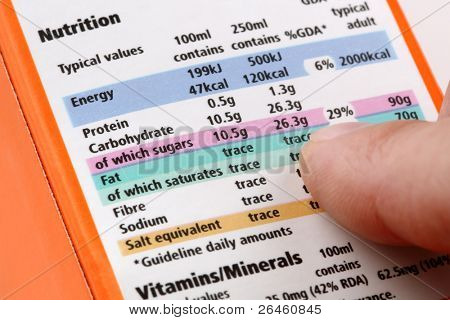 Reading a nutrition label on food packaging