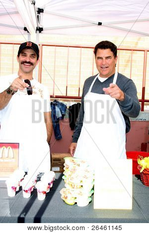 LOS ANGELES - NOV 30:  Jonathon Schaech; Ted McGinley at the Hollywood Chamber Of Commerce 17th Annual Police And Fire BBQ at Wilcox Station on November 30, 2011 in Los Angeles, CA