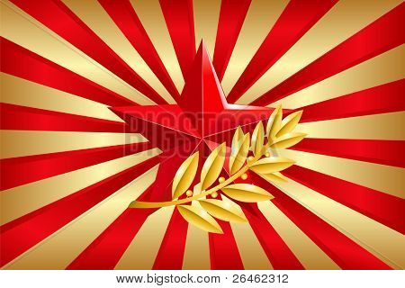 Red star and Laurel Branch on Golden and Red Background