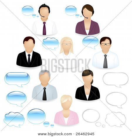 8 Vector Business People Icons With Dialog Bubbles, Isolated On White