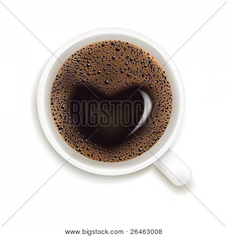 Cup Of Coffee With Heart Image Isolated On White Background, Vector Illustration