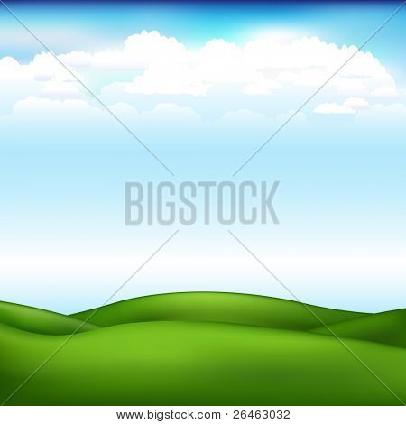 Beautiful Landscape With Blue Sky And Clouds