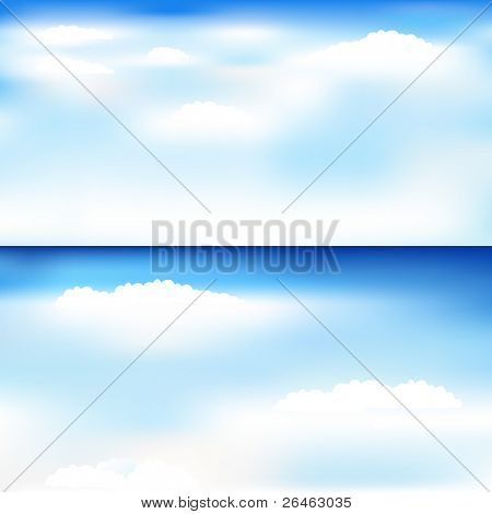 2 Beautiful Blue Backgrounds With Clouds