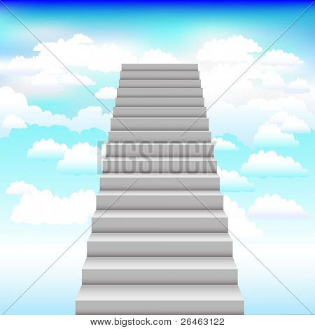 Grey Staircase In Blue Sky,Vector Illustration