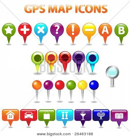 27 Gps Karte Farbsymbole, isolated on white Background, vector illustration
