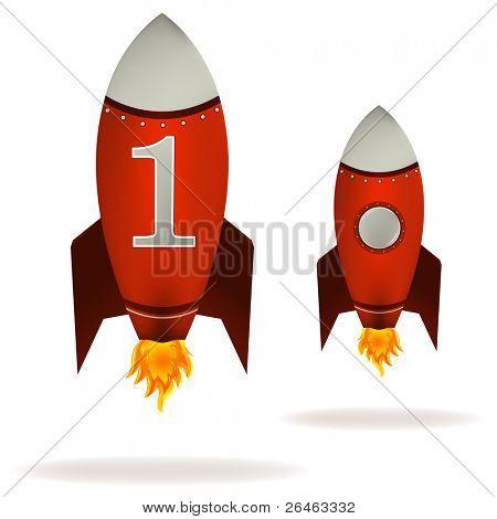 Stylized illustration of a starting retro rocket ship