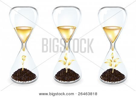 Glass clocks With Golden sprouts, coins and Golden drops, Isolated On White