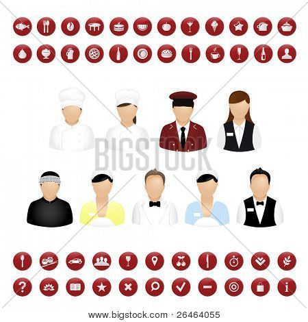 Restaurant Menschen Symbole und Kartensymbole vector Set, isolated on white Background, Vector illustration
