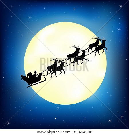 Santa Claus On Sledge With Deer And Moon, Vector Illustration