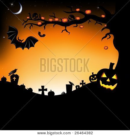 Halloween Illustration With Pumpkins, Bats, Cemetery And Raven, Vector Illustration