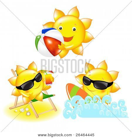 3 Cartoon Suns, Isolated On White Background, Vector Illustration
