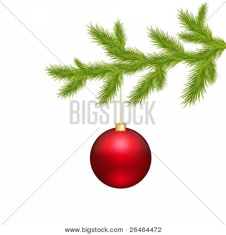 Branch Of Christmas Tree And Christmas Ball, Isolated On White Background, Vector Illustration