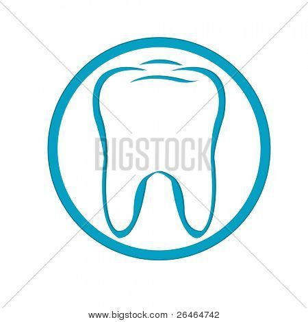 Stylized Tooth In Circle, Isolated On White Background