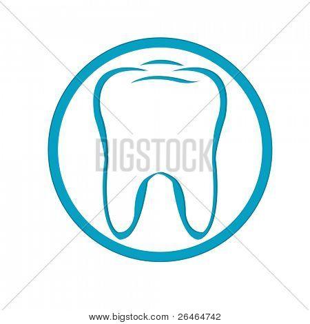 Dente estilizado em círculo, isolado no fundo branco