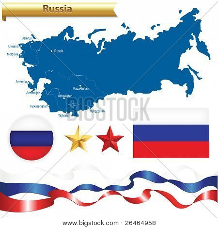 Russian Federation Set, Russia Map (CIS-Commonwealth of Independent States) With Flag, Badge And Stars, Isolated On White Background, Vector Illustration