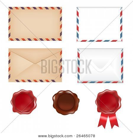 4 Envelopes And 3 Wax Seals, Isolated On White Background, Vector Illustration