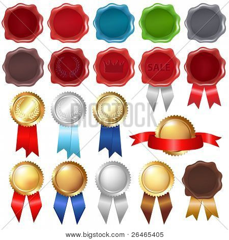 Collection Wax Seal And Award Ribbons, Isolated On White Background