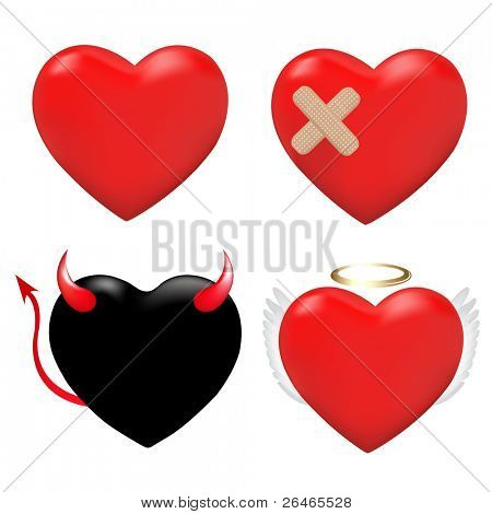 4 Hearts, Heart With Plaster, And Hearts As An Angel And Demon, Isolated On White Background