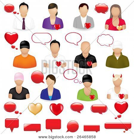 Icons Of People With Design Elements On  Theme Valentine's day, Isolated On White Background