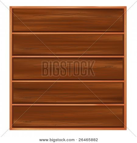 Bookshelf From Dark Wood With Shelves,  Isolated On White Background, Vector Illustration