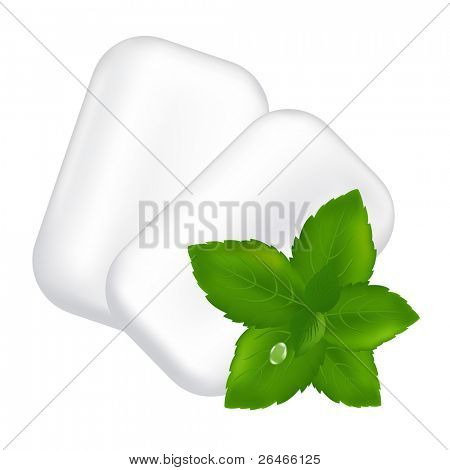 Chewing Gum And Fresh Mint Leaves, Isolated On White Background