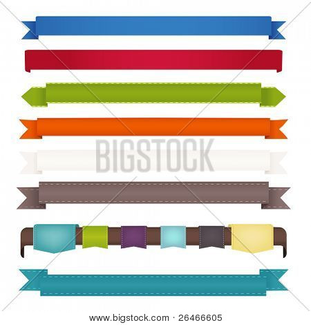 8 Ribbons, Isolated On White Background