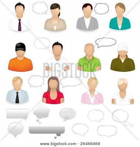 12 People Icons With Dialog Bubbles, Isolated On White Background, Vector Illustration