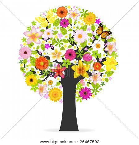 Abstract Flowers Tree, Isolated On White Background, Vector Illustration